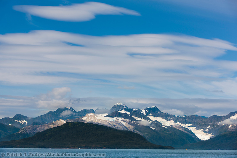Clouds over the Chugach Mountains, Prince William Sound, Chugach National Forest, Southcentral, Alaska.