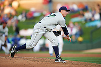 Cedar Rapids Kernels pitcher Keaton Steele (27) delivers a pitch during a game against the South Bend Cubs on June 5, 2015 at Four Winds Field in South Bend, Indiana.  South Bend defeated Cedar Rapids 9-4.  (Mike Janes/Four Seam Images)