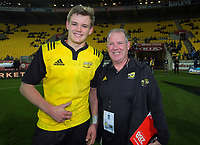 Taine Plumtree and Hurricanes under-18 coach Darren Larsen after the rugby match between the Hurricanes under-18s and Crusaders Knights at Westpac Stadium in Wellington, New Zealand on Saturday, 15 July 2017. Photo: Dave Lintott / lintottphoto.co.nz