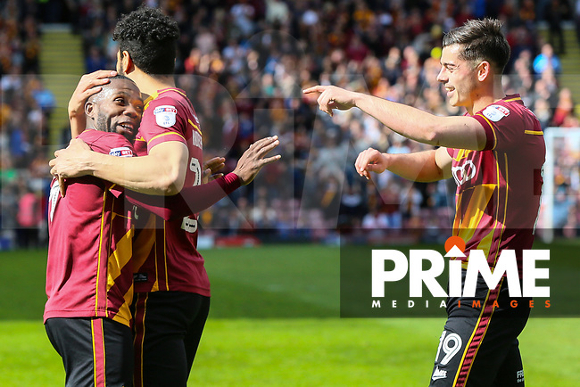 Mark Marshall of Bradford City celebrates scoring Bradford Citys second goal during the Sky Bet League 1 match between Bradford City and AFC Wimbledon at the Northern Commercial Stadium, Bradford, England on 22 April 2017. Photo by Thomas Gadd.
