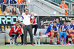 09 July 2014: Dallas head coach Oscar Pareja (COL) (in white). The Carolina RailHawks of the North American Soccer League played FC Dallas of Major League Soccer at WakeMed Stadium in Cary, North Carolina in the quarterfinals of the 2014 Lamar Hunt U.S. Open Cup soccer tournament. FC Dallas won the game 5-2.
