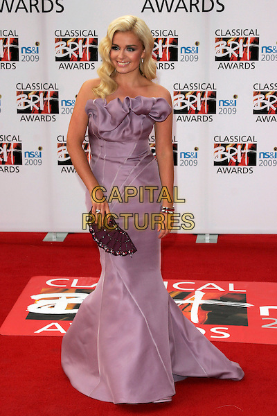 KATHERINE JENKINS.Arrivals - the Classical Brit Awards 2009 at the Royal Albert Hall, London, England..May 14th 2009.brits full length purple ruffle strapless dress lilac fan clutch bag silk satin gathered .CAP/AH.©Adam Houghton/Capital Pictures.