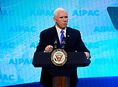 United States Vice President Mike Pence speaks at the American Israel Public Affairs Committee (AIPAC) 2019 Policy Conference at the Washington Convention Center in Washington, DC on Monday, March 25, 2019.<br /> Credit: Ron Sachs / CNP<br /> (RESTRICTION: NO New York or New Jersey Newspapers or newspapers within a 75 mile radius of New York City)