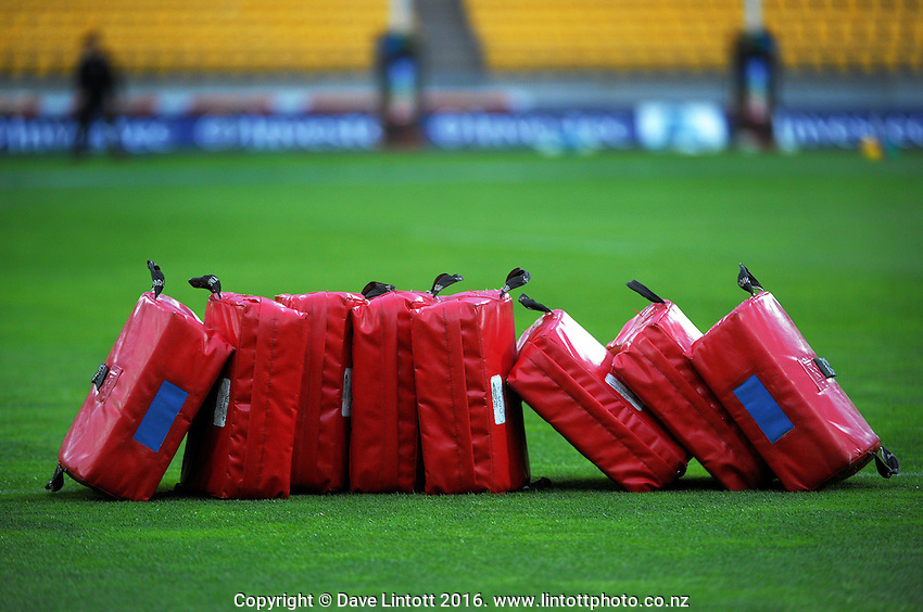 Bump bags wait for warm-up action before the Super Rugby match between the Hurricanes and Southern Kings at Westpac Stadium, Wellington, New Zealand on Friday, 25 March 2016. Photo: Dave Lintott / lintottphoto.co.nz