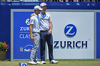 Jon Rahm (ESP) shares a laugh with his playing partner Wesley Bryan (USA) before Round 2 of the Zurich Classic of New Orl, TPC Louisiana, Avondale, Louisiana, USA. 4/27/2018.<br /> Picture: Golffile | Ken Murray<br /> <br /> <br /> All photo usage must carry mandatory copyright credit (&copy; Golffile | Ken Murray)