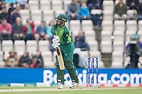 Quinton de Kock  (South Africa)  survives an early caught behind decision on review - the ball brushing the elbow on the way through during South Africa vs West Indies, ICC World Cup Cricket at the Hampshire Bowl on 10th June 2019