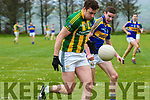 Lios Póil Nollaig Ó hUigín and Cordal Phillip O'Connor in an action during the Junior Football Championship match at Lispole GAA Grounds on Sunday afternoon.