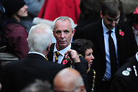 Pictured: Members of the Armed Forces, war veterans, dignitaries and locals attend the Remebrance Day service. Sunday 11 November 2018<br /> Re: Commemoration for the 100 years since the end of the First World War on Remembrance Day at the Llandaff Cathedral, in Llandaff, Cardiff, Wales, UK.