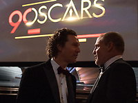 Matthew McConaughey and Woody Harrelson during the live ABC Telecast of The 90th Oscars&reg; at the Dolby&reg; Theatre in Hollywood, CA on Sunday, March 4, 2018.<br /> *Editorial Use Only*<br /> CAP/PLF/AMPAS<br /> Supplied by Capital Pictures