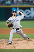 Columbus Clippers starting pitcher Ryan Merritt (12) in action against the Charlotte Knights at BB&T BallPark on May 3, 2016 in Charlotte, North Carolina.  The Clippers defeated the Knights 8-3.  (Brian Westerholt/Four Seam Images)