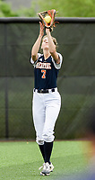 NWA Democrat-Gazette/CHARLIE KAIJO Rogers Heritage High School outfielder Kyndall Strickland (7) makes a catch during the 6A State Softball Tournament, Thursday, May 9, 2019 at Tiger Athletic Complex at Bentonville High School in Bentonville. Rogers Heritage High School lost to Northside High School 8-6
