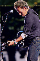 Legendary rock musician Bruce Springsteen performs for a crowd of over ten thousand during a rally in support of Democratic presidential candidate Barack Obama, Oct. 5, 2008, at the Oval on the campus of Ohio State University in Columbus, Ohio. The rally was held to encourage Obama supporters to register to vote and to take advantage of Ohio's early voting period. Former U.S. Senator and NASA astronaut John Glenn introduced Springsteen. (Kevin Craiglow/pressphotointl.com)