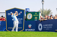 Rafa Cabrera Bello (ESP) on the 1st tee during the 2nd round of the DP World Tour Championship, Jumeirah Golf Estates, Dubai, United Arab Emirates. 22/11/2019<br /> Picture: Golffile | Fran Caffrey<br /> <br /> <br /> All photo usage must carry mandatory copyright credit (© Golffile | Fran Caffrey)