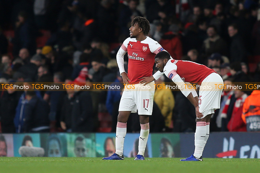 Alex Iwobi and Ainsley Maitland-Niles of Arsenal show their frustration at the final whistle during Arsenal vs Sporting Lisbon, UEFA Europa League Football at the Emirates Stadium on 8th November 2018
