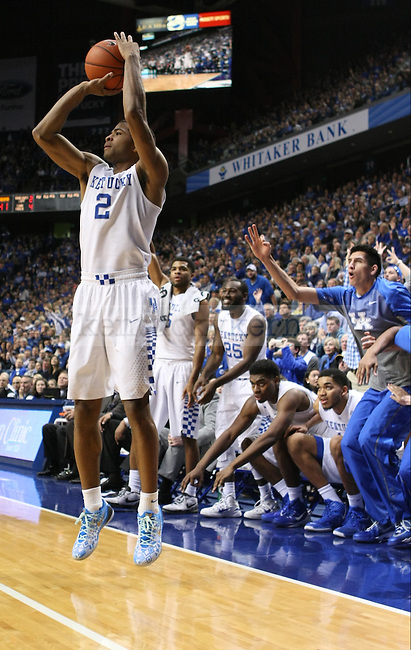 Sophomore guard Aaron Harrison (2) shoots a three during the second half of the men's basketball game against Alabama on Saturday, January 31, 2015 in Lexington, Ky. Kentucky won the game 70-55. Photo by Hunter Mitchell | Staff