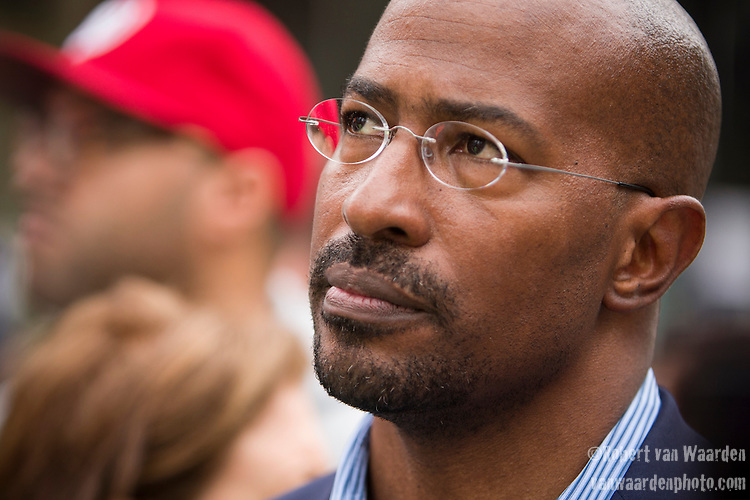 Van Jones pauses for a moment prior to the Peoples Climate March in New York City. More than 300,000 march in solidarity for Climate accountability, at the People's Climate March on September 21, 2014. (Credit: Robert van Waarden)
