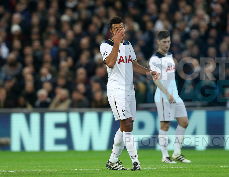 Tottenham's Mousa Dembele looks on dejected as he goes off injured during the Champions League group E match at the Wembley Stadium, London. Picture date November 2nd, 2016 Pic David Klein/Sportimage
