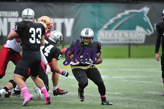 The Stevenson football team improves to 5-0 on the season as they defeat the Monarchs of Kings College 13-7 Saturday afternoon at Mustang Stadium in Owings Mills.