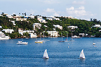 Sailboats along the coast of Bermuda.