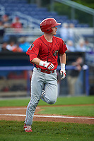 Williamsport Crosscutters shortstop Dylan Bosheers (17) runs to first during a game against the Batavia Muckdogs on August 29, 2015 at Dwyer Stadium in Batavia, New York.  Williamsport defeated Batavia 7-3.  (Mike Janes/Four Seam Images)