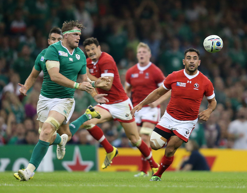 Ireland's Jamie Heaslip in action during todays match<br /> <br /> Photographer Ian Cook/CameraSport<br /> <br /> Rugby Union - 2015 Rugby World Cup - Canada v Ireland - Saturday 19th September 2015 - Millennium Stadium - Cardiff<br /> <br /> &copy; CameraSport - 43 Linden Ave. Countesthorpe. Leicester. England. LE8 5PG - Tel: +44 (0) 116 277 4147 - admin@camerasport.com - www.camerasport.com