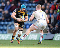 James Haskell of London Wasps squares up to Ross Harrison of Sale Sharks during the Aviva Premiership match between London Wasps and Sale Sharks at Adams Park on Saturday 1st March 2014 (Photo by Rob Munro)