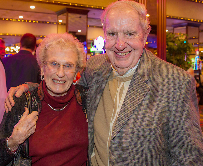Norma and Don Thomson, one of the original Sheep Dip participants, during the Sheep Dip 54 Show at the Eldorado Hotel & Casino on Friday night, Jan. 12, 2018.
