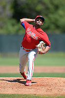 Philadelphia Phillies pitcher Delvi Francisco (44) during a minor league spring training game against the Pittsburgh Pirates on March 18, 2014 at the Carpenter Complex in Clearwater, Florida.  (Mike Janes/Four Seam Images)