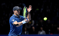 Mike Bryan in action with partner Jack Sock against Pierre-Hughes Herbert and Nicolas Mahu in their doubles Final match today<br /> <br /> Photographer Hannah Fountain/CameraSport<br /> <br /> International Tennis - Nitto ATP World Tour Finals Day 8 - O2 Arena - London - Sunday 18th November 2018<br /> <br /> World Copyright &copy; 2018 CameraSport. All rights reserved. 43 Linden Ave. Countesthorpe. Leicester. England. LE8 5PG - Tel: +44 (0) 116 277 4147 - admin@camerasport.com - www.camerasport.com