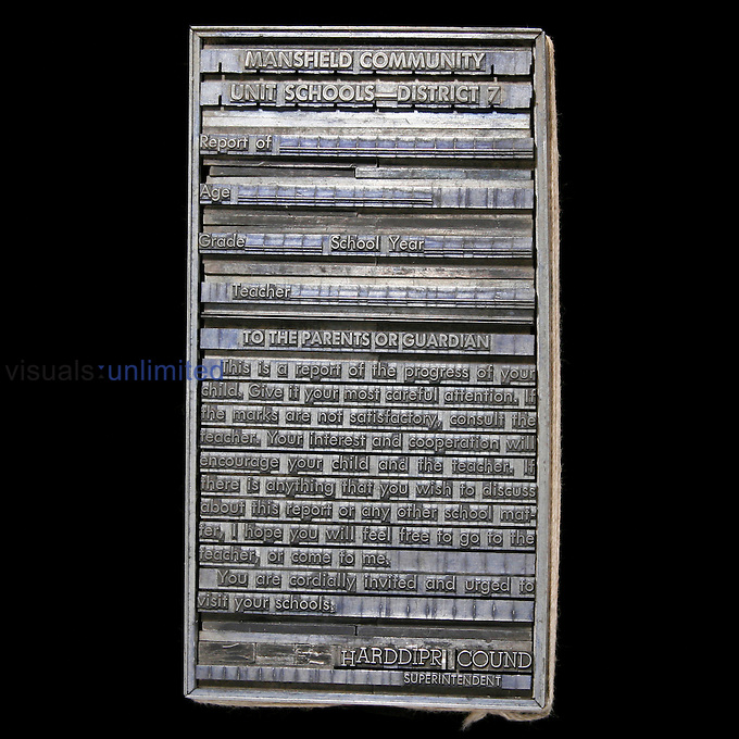 Linotype printing block.<br /> An example of the element Lead