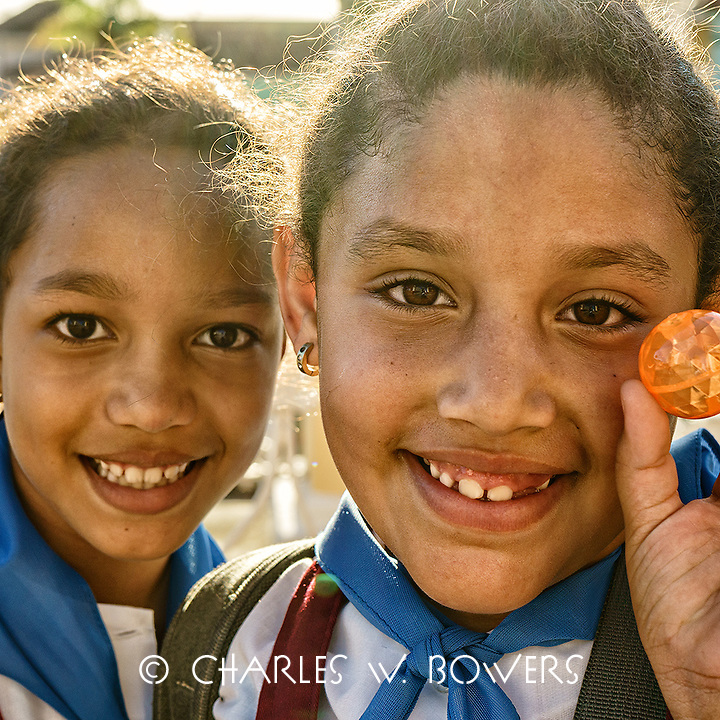 Faces Of Cuba - Trinidadian girls were happy with their new bouncy balls.<br />