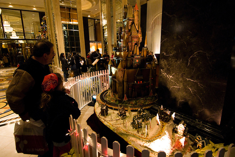 California: San Francisco Christmas celebration, Union Square.  Sugar castle in lobby of Westin St. Francis Hotel. Photo copyright Lee Foster.  Photo # 32-casanf75923