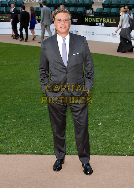 "Aaron Sorkin.""Moneyball"" Premiere held at The Paramount Theatre, Oakland, California, USA..September 19th, 2011.full length grey gray suit white shirt hands in pockets.CAP/ADM/DA.©Drew Altizer/AdMedia/Capital Pictures."