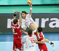21.01.2013 Barcelona, Spain. IHF men's world championship, Eighth Final. Picture show Lijewski  in action during game Hungary vs Poland at Palau St Jordi