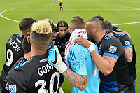 San Jose, CA - Saturday June 24, 2017: San Jose Earthquakes huddle during a Major League Soccer (MLS) match between the San Jose Earthquakes and Real Salt Lake at Avaya Stadium.