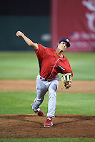 Williamsport Crosscutters relief pitcher Tyler Hallead (28) delivers a pitch during a game against the Auburn Doubledays on June 25, 2016 at Falcon Park in Auburn, New York.  Auburn defeated Williamsport 5-4.  (Mike Janes/Four Seam Images)