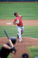New Hampshire Fisher Cats Jose Fernandez (35)delivers a pitch during a game against the Erie SeaWolves on June 20, 2018 at UPMC Park in Erie, Pennsylvania.  New Hampshire defeated Erie 10-9.  (Mike Janes/Four Seam Images)