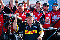Sep 2, 2019; Clermont, IN, USA; NHRA top fuel team owner Connie Kalitta celebrates after winning the US Nationals at Lucas Oil Raceway. Mandatory Credit: Mark J. Rebilas-USA TODAY Sports