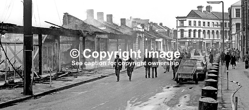 The devastation following the overnight blaze at Smithfield Market, Belfast, N Ireland, UK, May 1974. 197405000248f<br /> <br /> Copyright Image from Victor Patterson, 54 Dorchester Park, Belfast, UK, BT9 6RJ<br /> <br /> Tel: +44 28 9066 1296<br /> Mob: +44 7802 353836<br /> Voicemail +44 20 8816 7153<br /> Email: victorpatterson@me.com<br /> Email: victorpatterson@gmail.com<br /> <br /> IMPORTANT: My Terms and Conditions of Business are at www.victorpatterson.com