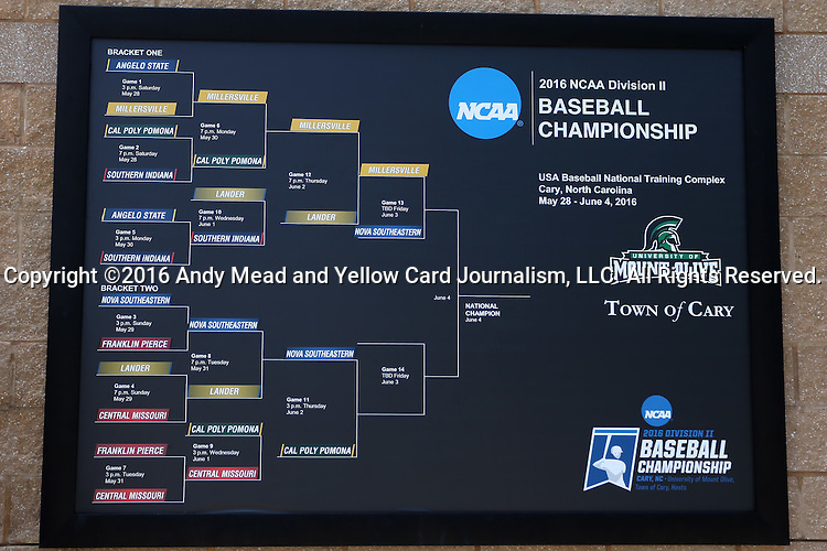04 June 2016: A bracket of the tournament is posted on a wall at the stadium. The Nova Southeastern University Sharks played the Millersville University Marauders in Game 14 of the 2016 NCAA Division II College World Series  at Coleman Field at the USA Baseball National Training Complex in Cary, North Carolina. Nova Southeastern won the game 8-6 and clinched the NCAA Division II Baseball Championship.