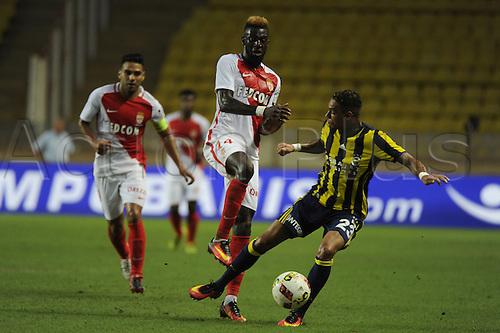 03.08.2016. Monaco, France. UEFA Champions league qualifying round, AS Monaco versus Fenerbahce.  Tiemoue Bakayoko (mon) challenged by Gregory van der Wiel (fen)