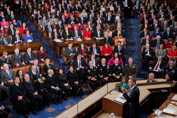 UNITED STATES - FEBRUARY 12:  President Barack Obama delivers his State of the Union address to Congress in the House chamber. (Photo By Tom Williams/CQ Roll Call)
