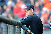 Head coach Chad Holbrook of the South Carolina Gamecocks during the Reedy River Rivalry game against the Clemson Tigers on March 1, 2014, at Fluor Field at the West End in Greenville, South Carolina. South Carolina won, 10-2.  (Tom Priddy/Four Seam Images)