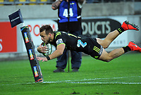 Wes Goosen scores during the Super Rugby match between the Hurricanes and Rebels at Westpac Stadium in Wellington, New Zealand on Saturday, 4 May 2019. Photo: Dave Lintott / lintottphoto.co.nz