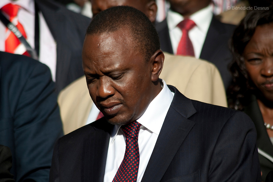 Kenya's President-Elect Uhuru Kenyatta talks to supporters as they celebrate winning the presidential election after the official result was released in Nairobi, Kenya on March 9, 2013. Uhuru Kenyatta won the Kenya's presidential election with 50.07 % of the vote. Kenyatta faces charges for crimes against humanity at the International Criminal Court for orchestrating the 2007-08 postelection violence. Photo by Benedicte Desrus