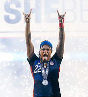 FRISCO, TX - MARCH 11: Jess McDonald #22 of the United States celebrates during a game between Japan and USWNT at Toyota Stadium on March 11, 2020 in Frisco, Texas.