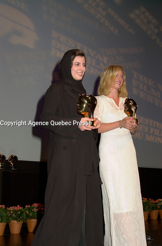 Sept 2, 2002, Montreal, Quebec, Canada<br /> <br /> Leila Hatami (L) and Maria Bonnevie (R) receive the <br /> Best Actress award ,at the closing ceremony of the 2002 Montreal World Films Festival, Sept 2 2002, in  Montreal, Quebec, Canada<br /> <br /> <br /> Mandatory Credit: Photo by Pierre Roussel- Images Distribution. (&copy;) Copyright 2002 by Pierre Roussel <br /> <br /> NOTE : <br />  Nikon D-1 jpeg opened with Qimage icc profile, saved in Adobe 1998 RGB<br /> .Uncompressed  Uncropped  Original  size  file availble on request.