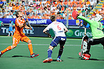 The Hague, Netherlands, June 13: Constantijn Jonker #27 of The Netherlands tries to score during the field hockey semi-final match (Men) between The Netherlands and England on June 13, 2014 during the World Cup 2014 at Kyocera Stadium in The Hague, Netherlands. Final score 1-0 (1-0)  (Photo by Dirk Markgraf / www.265-images.com) *** Local caption *** Constantijn Jonker #27 of The Netherlands, Henry Weir #6 of England, George Pinner #1 of England