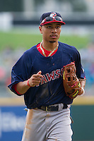 Pawtucket Red Sox center fielder Mookie Betts (12) ogs off the field between innings of the game against the Charlotte Knights at BB&T Ballpark on August 8, 2014 in Charlotte, North Carolina.  The Red Sox defeated the Knights  11-8.  (Brian Westerholt/Four Seam Images)