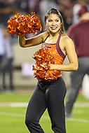 Blacksburg, VA - October 6, 2018: Virginia Tech Hokies cheerleader in action during the game between Notre Dame and VA Tech at  Lane Stadium in Blacksburg, VA.   (Photo by Elliott Brown/Media Images International)